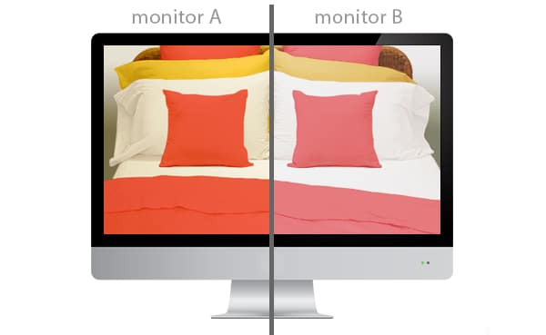 every monitor displays colour differently!